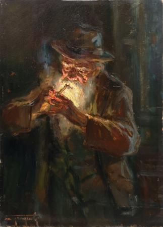 Quadro di Mario Tamburini Vecchio con pipa - olio cartone