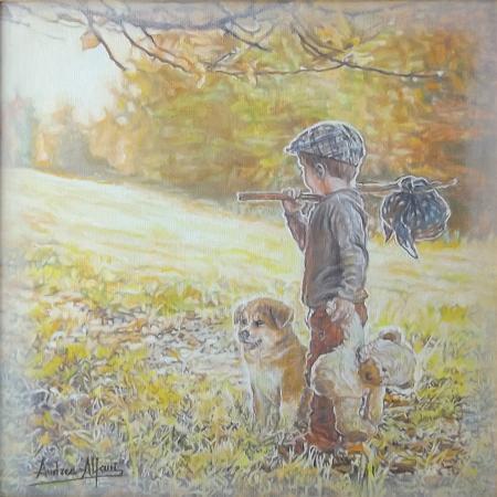 Quadro di Andrea Alfani  Il piccolo vagabondo - olio tela