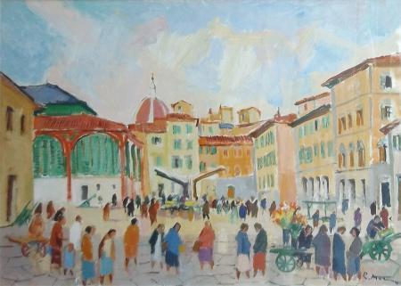 Quadro di Rodolfo Marma Mercato di S. Ambrogio - olio tela
