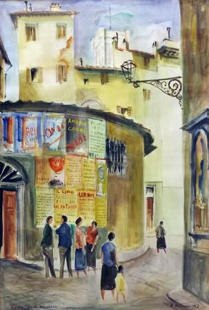 Art work by Rodolfo Marma Via dei Maccheroni, Firenze - watercolor paper