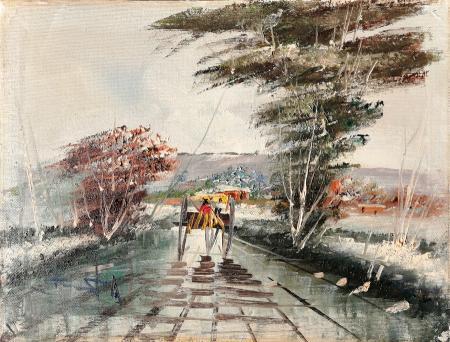 Quadro di firma Illeggibile Carrozza sotto la pioggia - olio tela