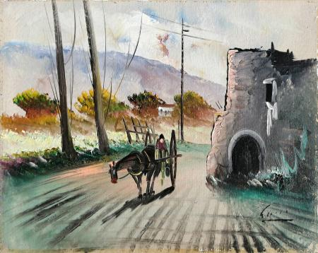 Art work by firma Illeggibile Carrozza in città - oil canvas