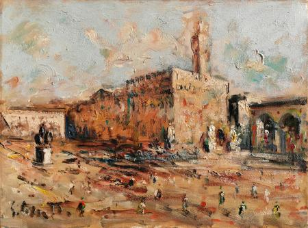 Art work by Emanuele Cappello Piazza della Signoria Firenze - oil canvas