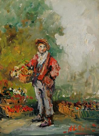 Art work by Norberto Martini Ragazzo che vende fiori - oil table