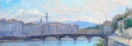 Quadro di Mario Minarini Arno e ponti, Firenze - olio tavola