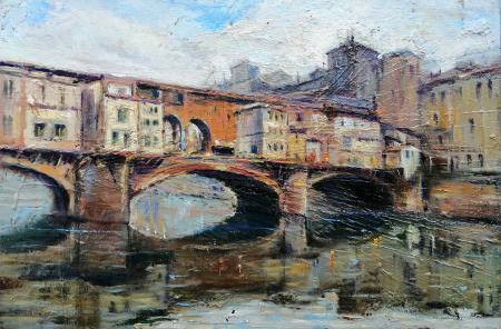Quadro di Mario Minarini Ponte Vecchio, Firenze - olio tavola