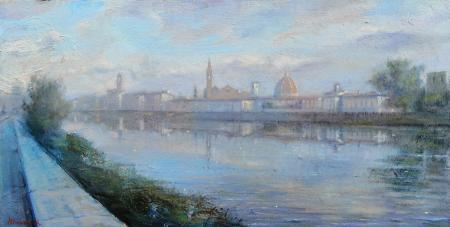 Quadro di Mario Minarini Lungarno Cellini, Firenze - olio tavola