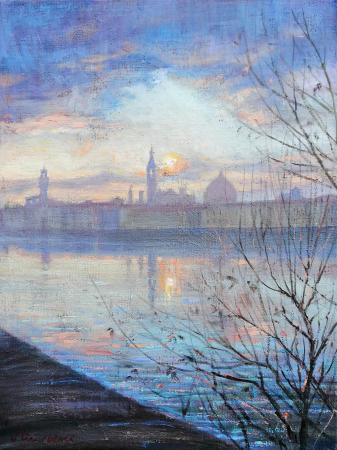 Art work by Mario Minarini Tramonto sull'Arno - oil canvas cardboard