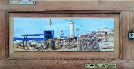 Art work by Massimo Lomi Sotto il faro - varnish table