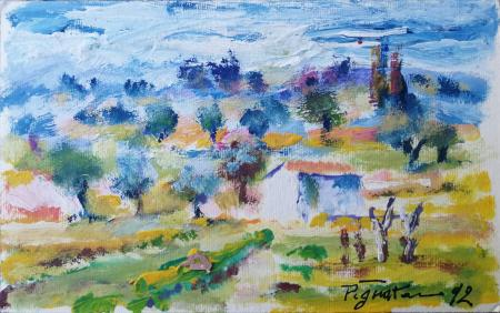 Quadro di Luigi Pignataro Paesaggio di campagna - acrilico carta