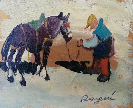 Art work by Basso Ragni Composizione - oil table
