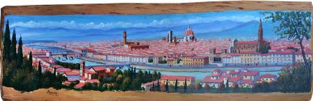 Art work by Giuliano Piazzini Firenze dal Piazzale - oil wood