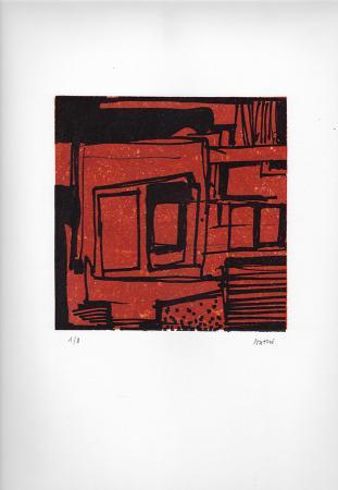 Art work by Gualtiero Nativi Composizione in rosso - lithography paper