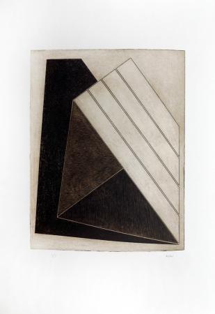 Quadro di Gualtiero Nativi Costruzione triangolare - acquaforte carta