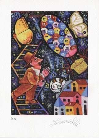 Quadro di Francesco Sammicheli Salendo fino alla mongolfiera - grafica carta