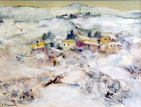 Quadro di Luciano Pasquini Nevicata - olio cartone su tavola