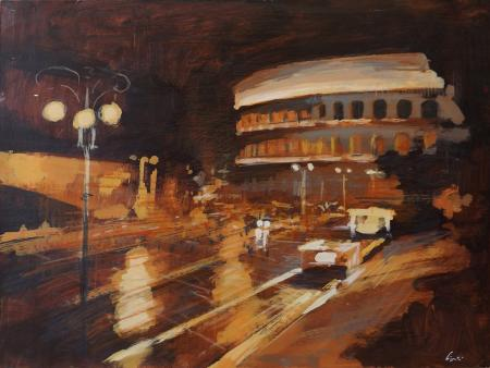 Art work by Claudio Cionini I fori imperiali di notte - mixed Cardboard on hardboard