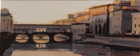 Art work by Claudio Cionini Ponte vecchio al tramonto - mixed Cardboard on hardboard