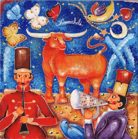 Quadro di Francesco Sammicheli Toro - olio tavola