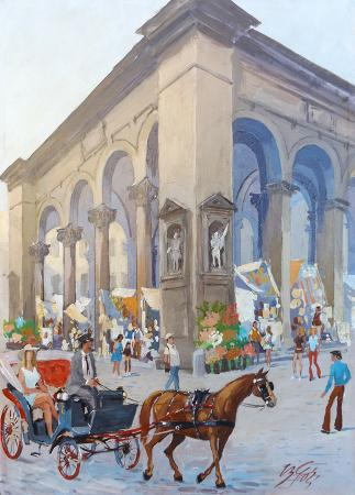 Quadro di Bruno Vasco Gori Mercato del Porcellino, Firenze - Pittori contemporanei galleria Firenze Art