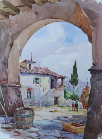 Art work by Giovanni Ospitali L'arco di campagna  - watercolor cardboard