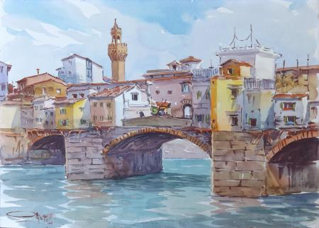 Art work by Giovanni Ospitali Ponte Vecchio, Firenze - watercolor cardboard