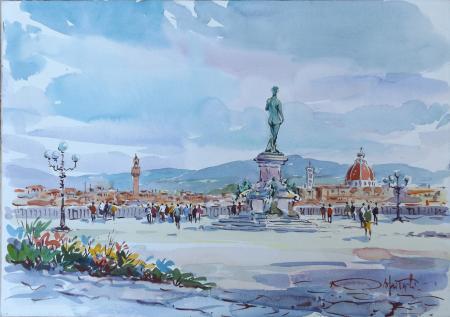Artwork by Giovanni Ospitali, watercolor on cardboard | Italian Painters FirenzeArt gallery italian painters