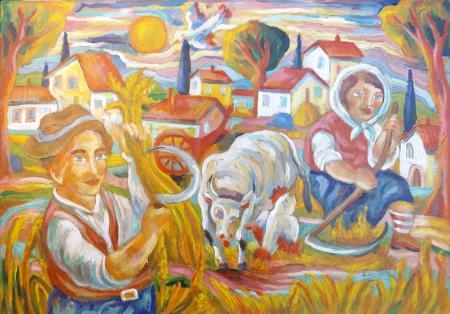 Quadro di Roberto Sguanci La mietitura del grano (le stagioni) - mista carta su tela