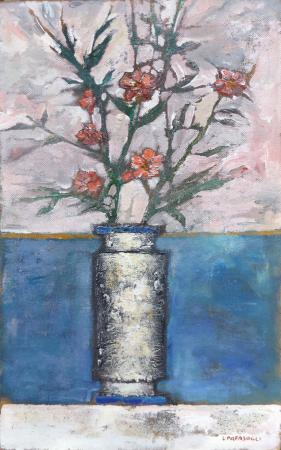 Art work by Leonardo Papasogli Vaso di fiori - oil hardboard