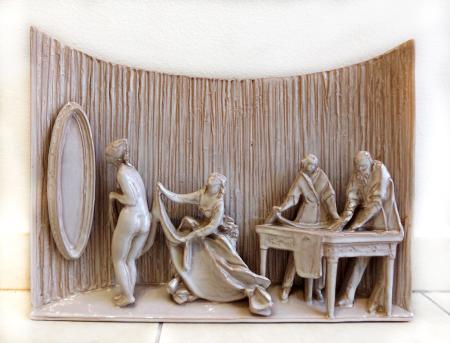 Quadro di Domenico Matteucci La sarta - ceramica ceramica