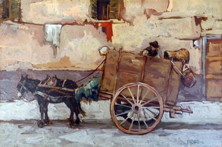 Quadro di Carlo Fabbrini Barrocciaio - olio cartone