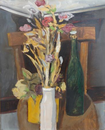 Art work by Gaetano D'Amico Vaso di fiori con bottiglia - oil table