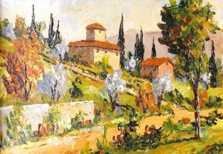 Quadro di Renzo Paoletti Paesaggio toscano - olio cartone