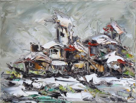 Art work by firma Illeggibile Case - oil canvas