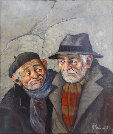 Art work by Gianfranco Antoni Due amici - oil jute
