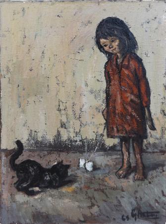 Art work by Gianfranco Antoni La bambina e il gatto - oil canvas