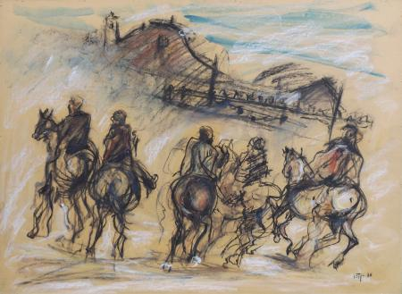 Art work by firma Illeggibile Battaglia - mixed paper
