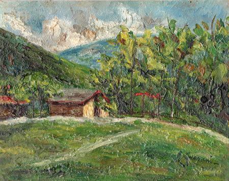 Quadro di R. Grasseni Casa in campagna - olio tavola