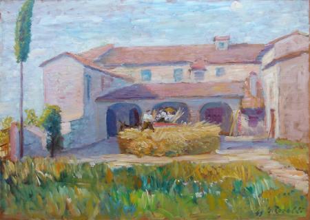 Quadro di G. Torelli Casa di campagna - olio tavola