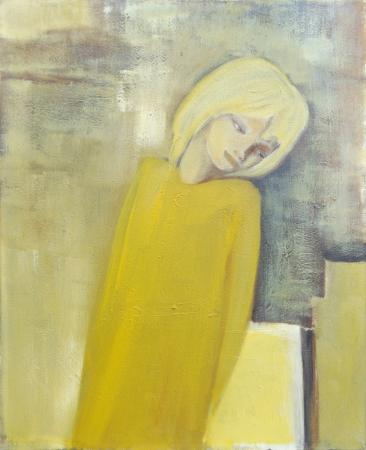 Quadro di F. Buffoni Donna in giallo - olio tela