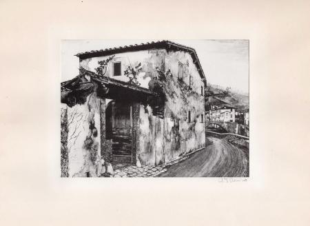 Quadro di Giuseppe Mario D'Amico La casa del poeta - serigrafia tela