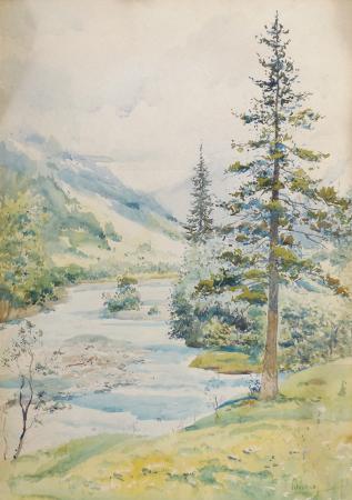 Quadro di Michele Ortino Paesaggio di montagna - acquerello cartone