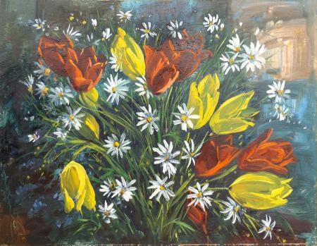 Quadro di Michele Ortino Fiori - olio tavola