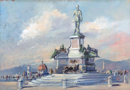Quadro di Michele Ortino PIazzale michelangelo - olio tavola