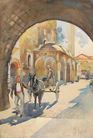 Art work by Michele Ortino Città - watercolor cardboard