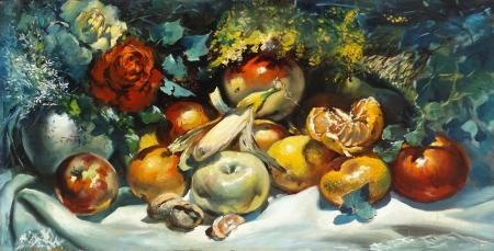Quadro di Michele Ortino Composizione con frutta - olio tavola