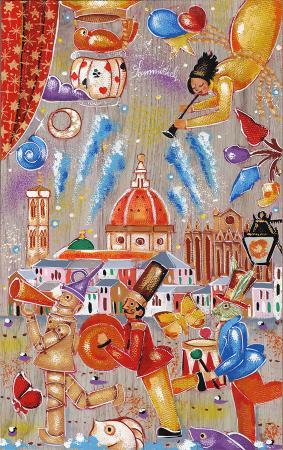 Quadro di Francesco Sammicheli Firenze in festa - olio tavola