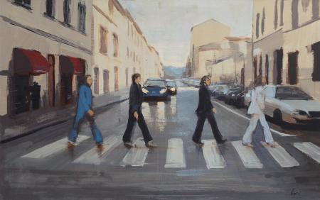 Art work by Claudio Cionini I Beatles a Firenze - mixed cardboard