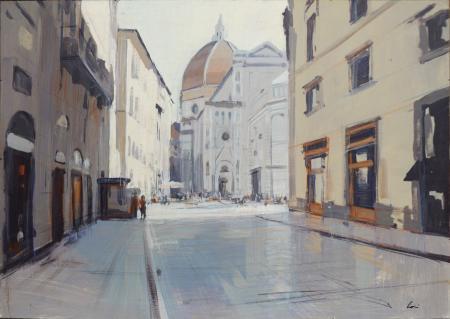 Quadro di Claudio Cionini Via de'Cerretani, Firenze - mista cartone su tavola