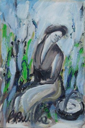 Art work by P. Bubba Figura seduta - oil canvas cardboard